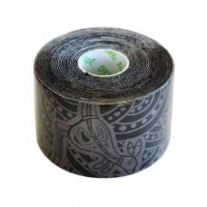 Dynamic Tape Eco Tatto (чёрный с серой тату) 5см х 5м
