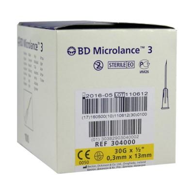 Cтерильная игла BD MICROLANCE 30G (0,3 x 13 mm) стандартная